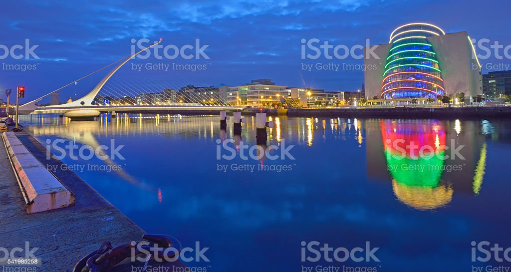 The Samuel Beckett Bridge on the River Liffey stock photo