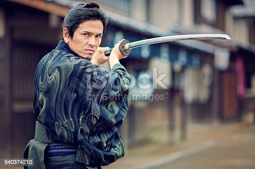 Traditional Japanese Samurai in action.