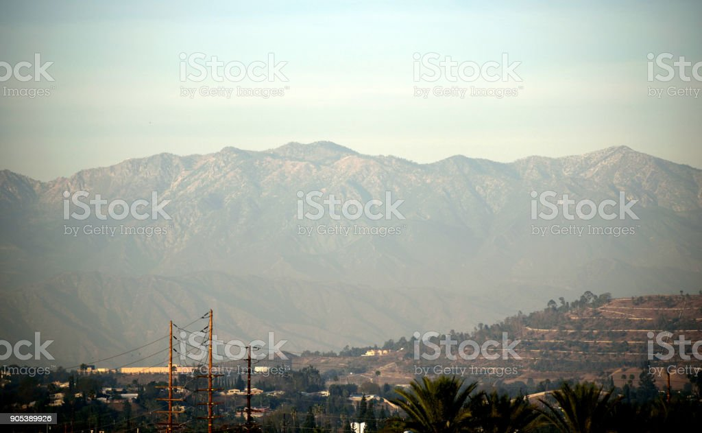 The San Gabriel Mountains at Golden Hour stock photo