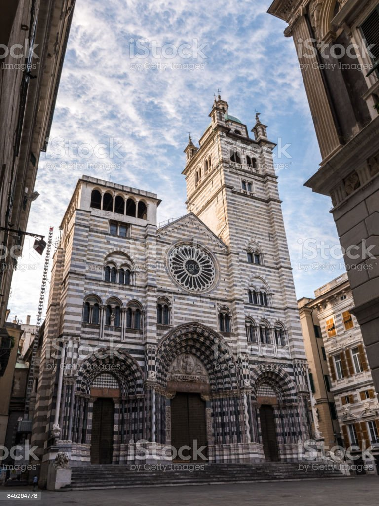 The 'San Lorenzo' cathedral of Genoa stock photo