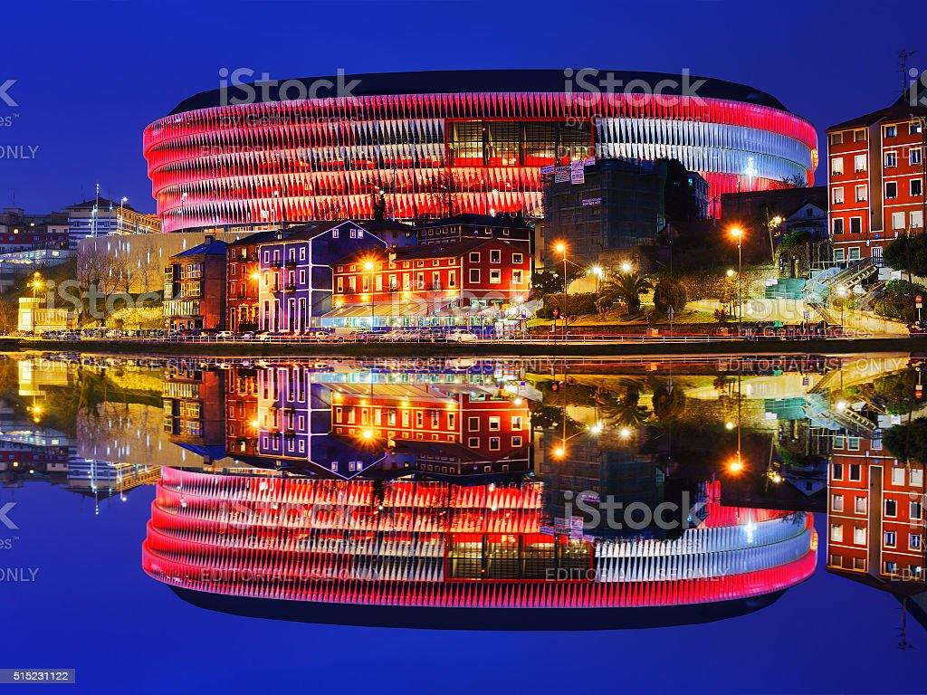 The San Mames football stadium in Bilbao at night stock photo