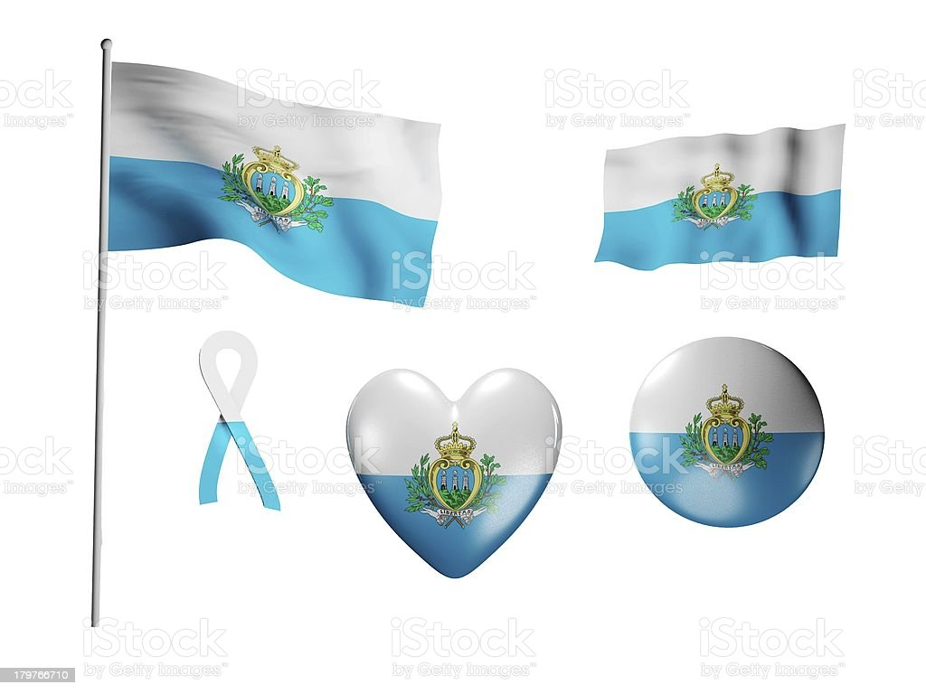 The San Marino flag - set of icons and flags royalty-free stock photo