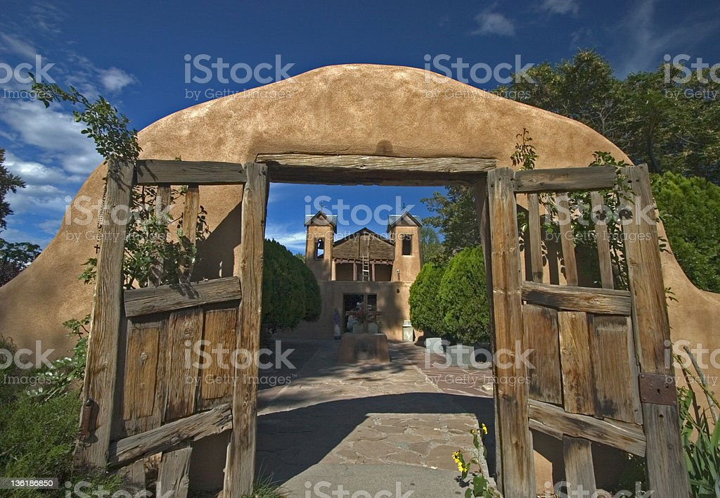 El Sanctuario de Chimayo Entrance of Chimayo Sanctuary. New Mexico, USA Adobe - Material Stock Photo