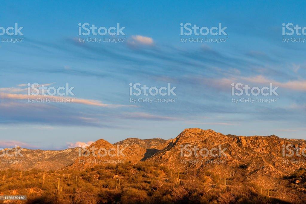 The Santa Catalina Mountains at Sunset stock photo