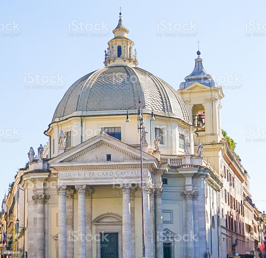 The Santa Maria dei Miracoli Church in Rome, Italy stock photo