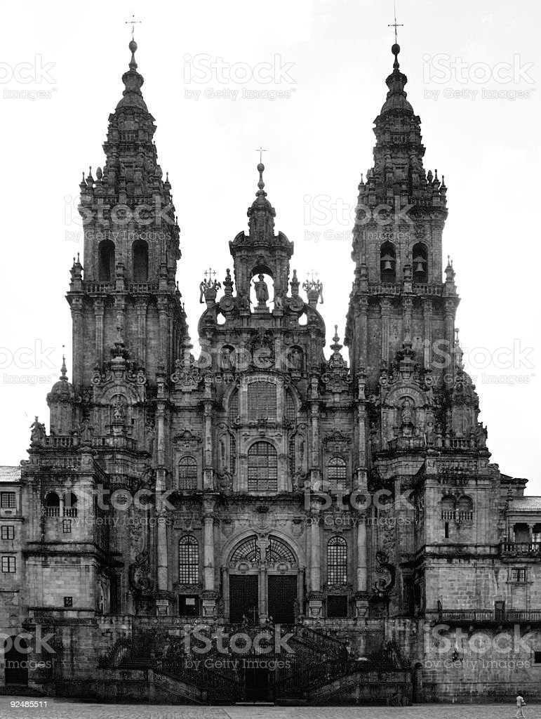 The Santiago Cathedral in black and white royalty-free stock photo