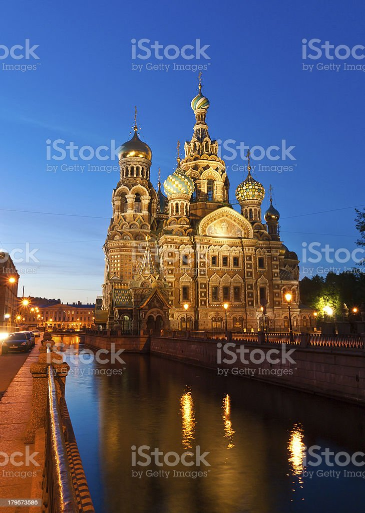 The Savior on blood, St Petersburg, Russia at dawn royalty-free stock photo