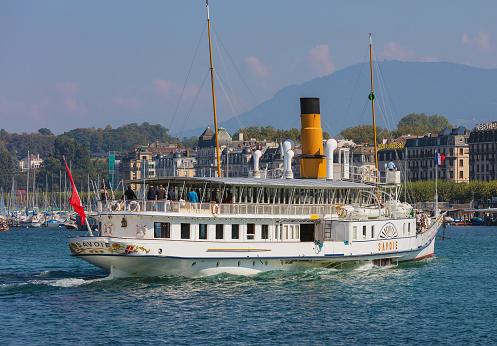 The Savoie ship passing on Lake Geneva in Switzerland