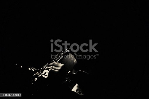 Saxophone, Player, vintage, dark, art, jazz