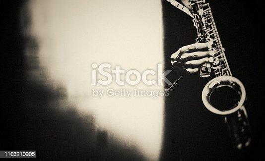 Saxophone, Player, vintage, dark, art, jazz