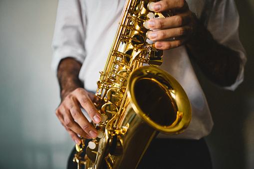 Saxophone, Player, vintage, dark, art, jazz, trumpet player, hand, luxury, close-up,