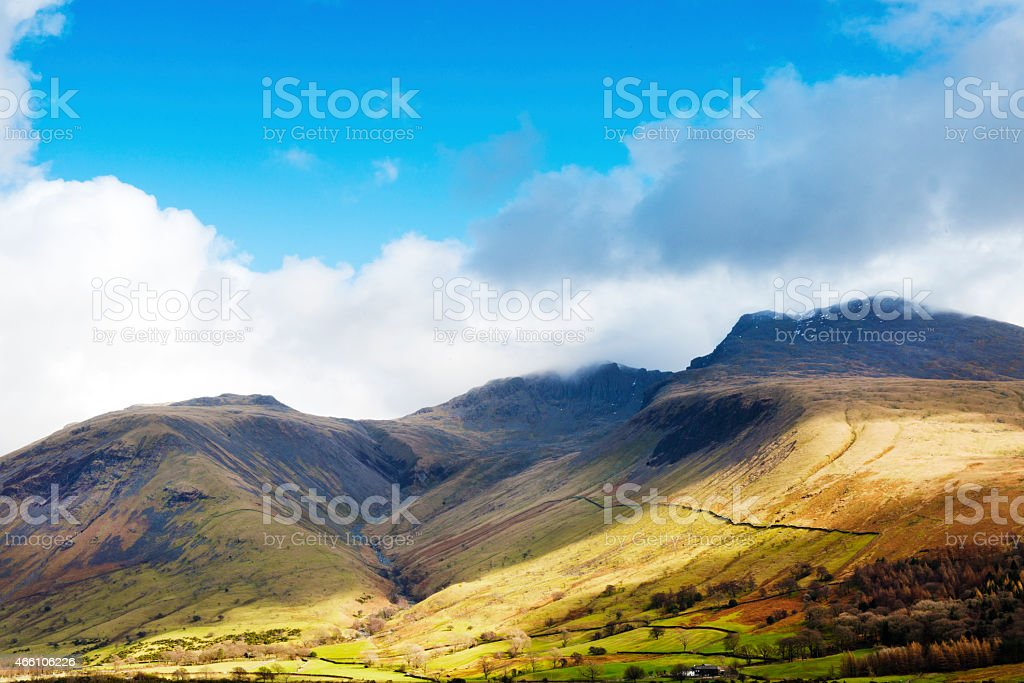 The Scafell group of fells in The English lake District stock photo