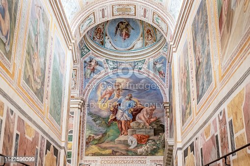Rome, Italy - April 13, 2019: detail of the left stairs at the end of that is the fresco showing the Bible scene