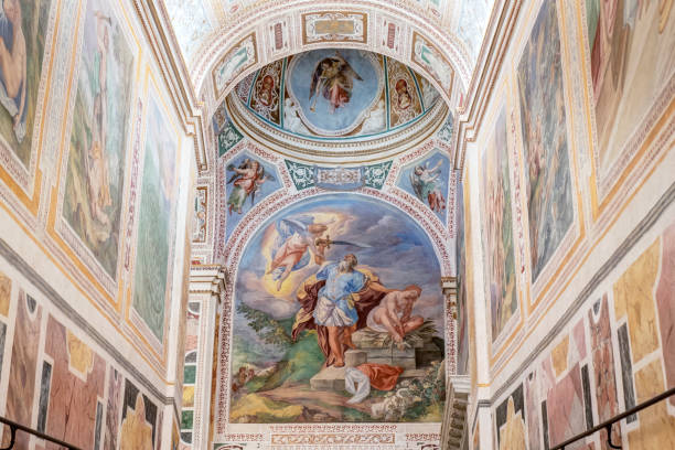 "The Scala Sancta - The left side Rome, Italy - April 13, 2019: detail of the left stairs at the end of that is the fresco showing the Bible scene ""Binding of Isaac"". Painted in the XVI c. Abraham stock pictures, royalty-free photos & images"