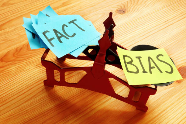 The scales on which lie a lot of facts and bias. stock photo