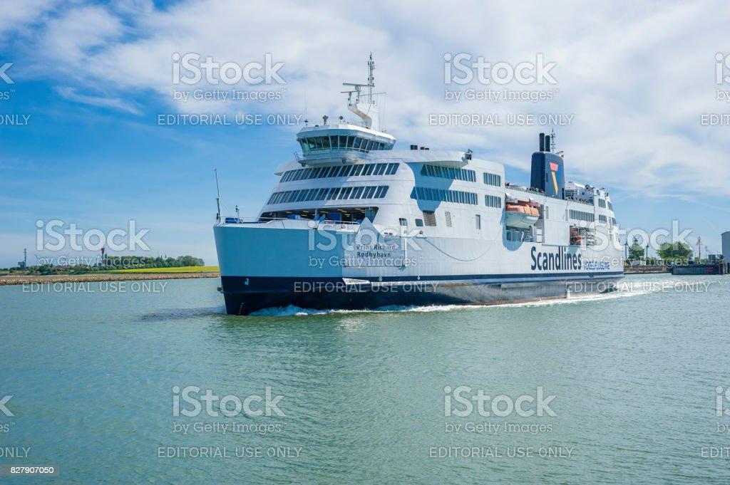 The Scandlines ferry in  Puttgarden stock photo