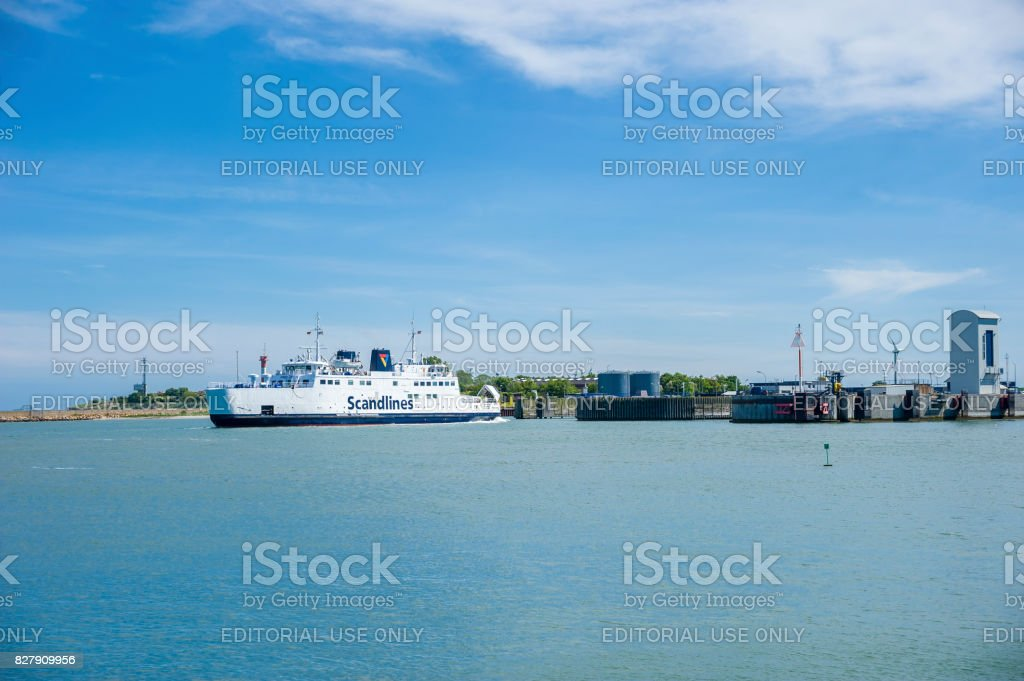 The Scandlines ferry in the port of Puttgarden, Fehmarn, Baltic Sea, Schleswig-Holstein, Germany, Europe stock photo