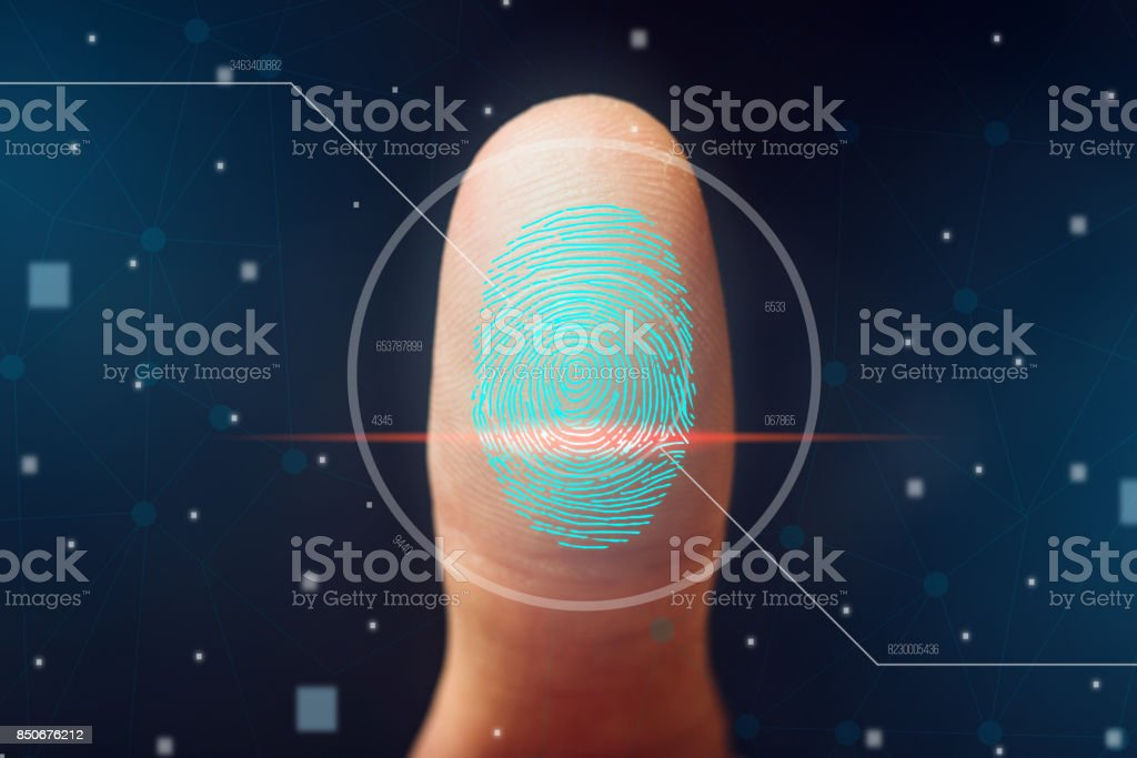 The scanning of the fingerprint. High technologies of information protection and biometric identification. stock photo
