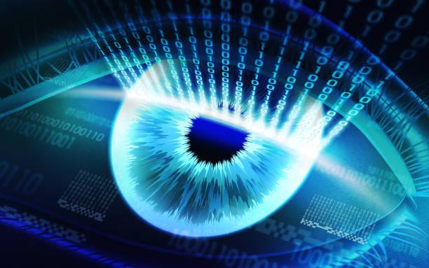 the scanning system of the retina, biometric security devices - going inside eye imagens e fotografias de stock