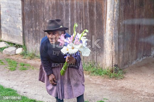 Ollantaytambo, Peru -  October 15, 2018: The scenery of going to Machu Picchu through the windows of train. A old woman is selling flowers to a tourists when the train passes through a village.