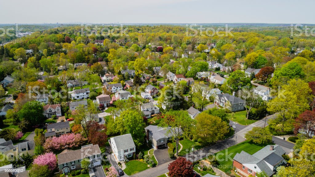 The scenic aerial view of Scarsdale city, Westchester County, New York State, USA, at spring sunny day. stock photo