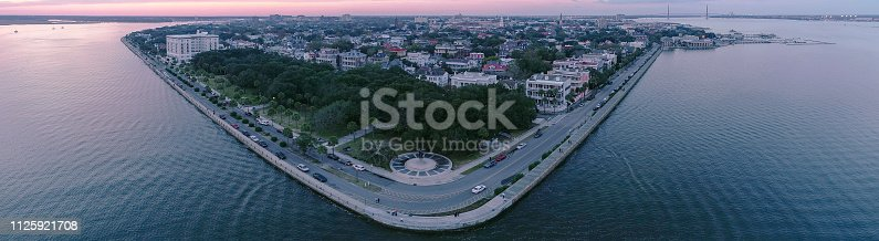 The scenic aerial view of the Charleston, South Carolina, USA, at sunset