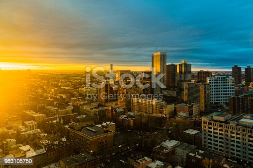 The scenic aerial view to the sunset over Jersey City, New Jersey, USA