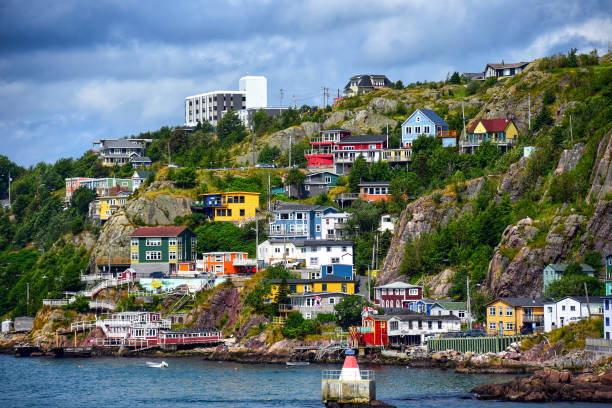 The scenic Battery neighborhood in St. John's, Newfoundland The scenic Battery neighborhood in St. John's, Newfoundland atlantic ocean stock pictures, royalty-free photos & images