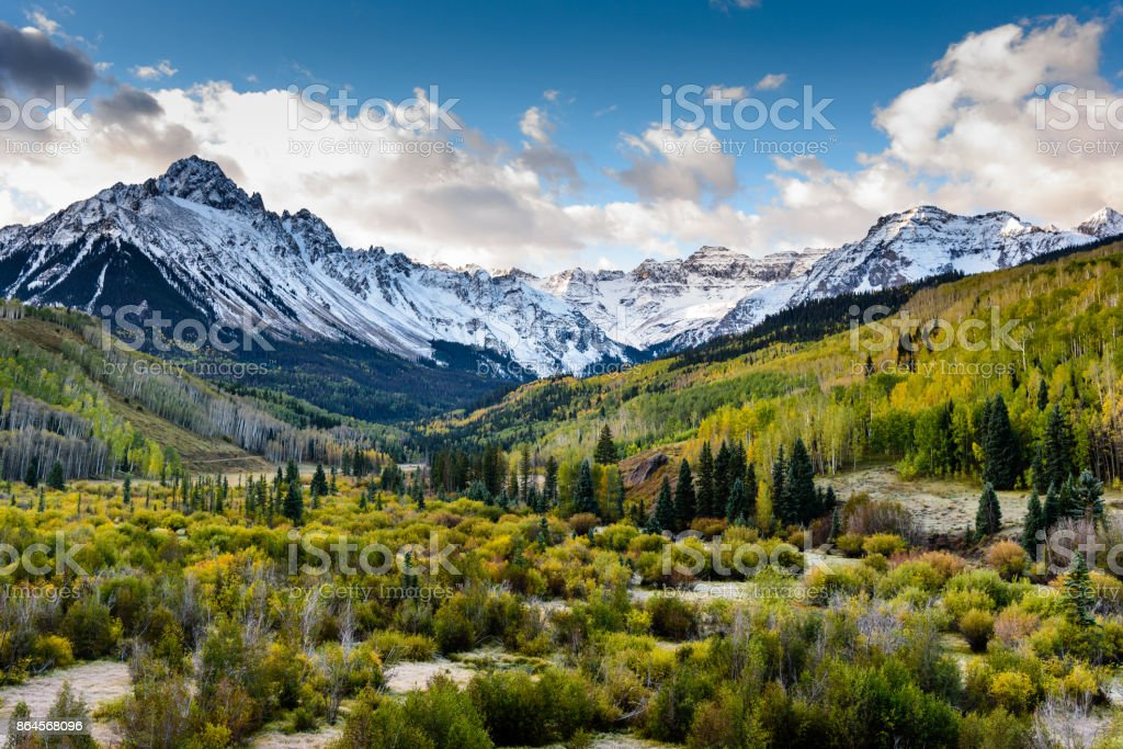The Scenic Beauty of the Colorado Rocky Mountains on The Dallas Divide stock photo