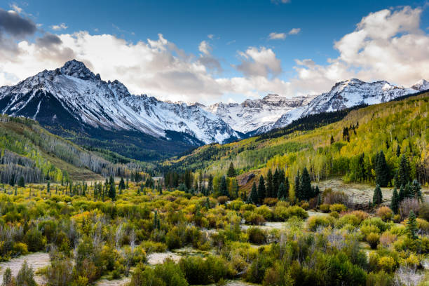 the scenic beauty of the colorado rocky mountains on the dallas divide - mountain range stock photos and pictures