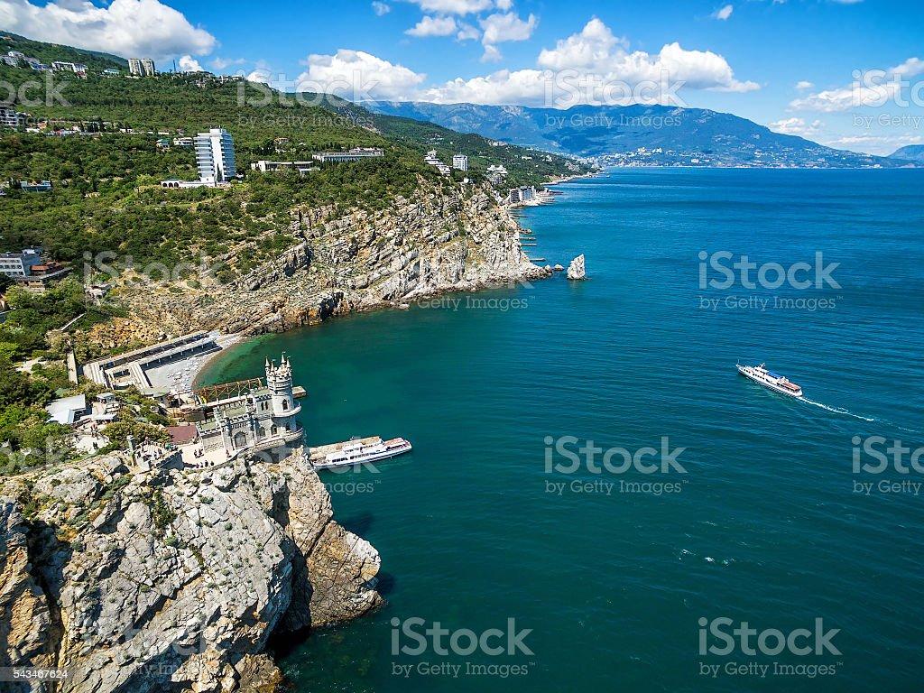 The scenic coast of Crimea with castle on rock, Crimea stock photo