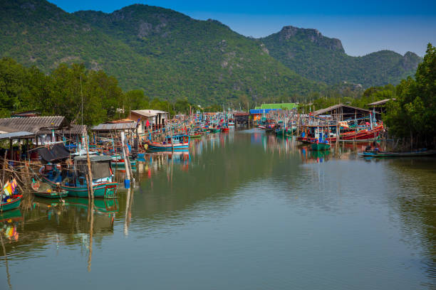 The Scenic Harbor Of Bang Pu In Thailand stock photo