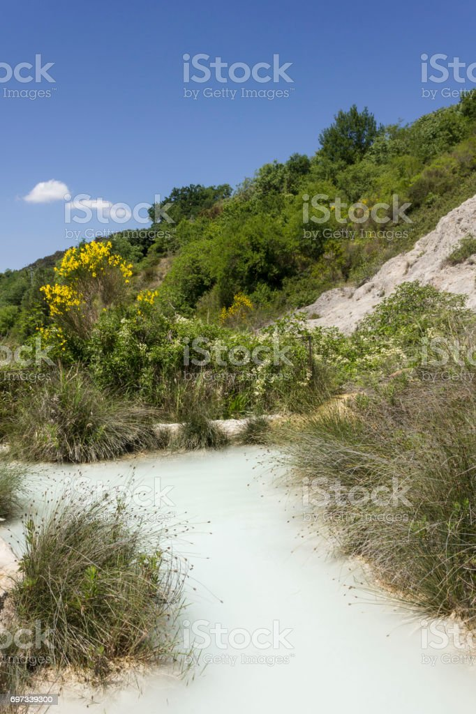 The scenic hot spring pool of Bagno Vignoni stock photo