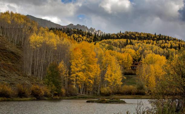 The Scenic reflex of yellow Aspen stock photo