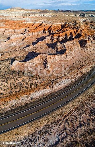 Aerial view of canyons nearby Kanab, Utah, USA.