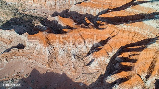 The scenic view of the clay dry canyon near Kanab, Utah, USA, in the winter sunny day.