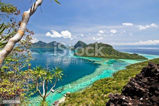 The scenic view of the Tun Sakaran Marine Park, Semporna, Sabah, from the top of Boheydulang Island.