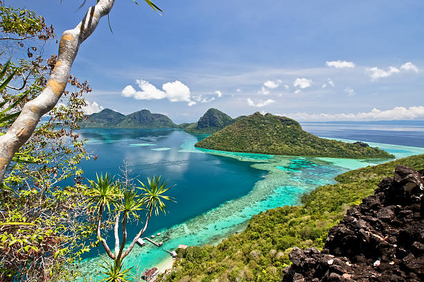 The scenic view of the Tun Sakaran Marine Park The scenic view of the Tun Sakaran Marine Park, Semporna, Sabah, from the top of Boheydulang Island. island of borneo stock pictures, royalty-free photos & images