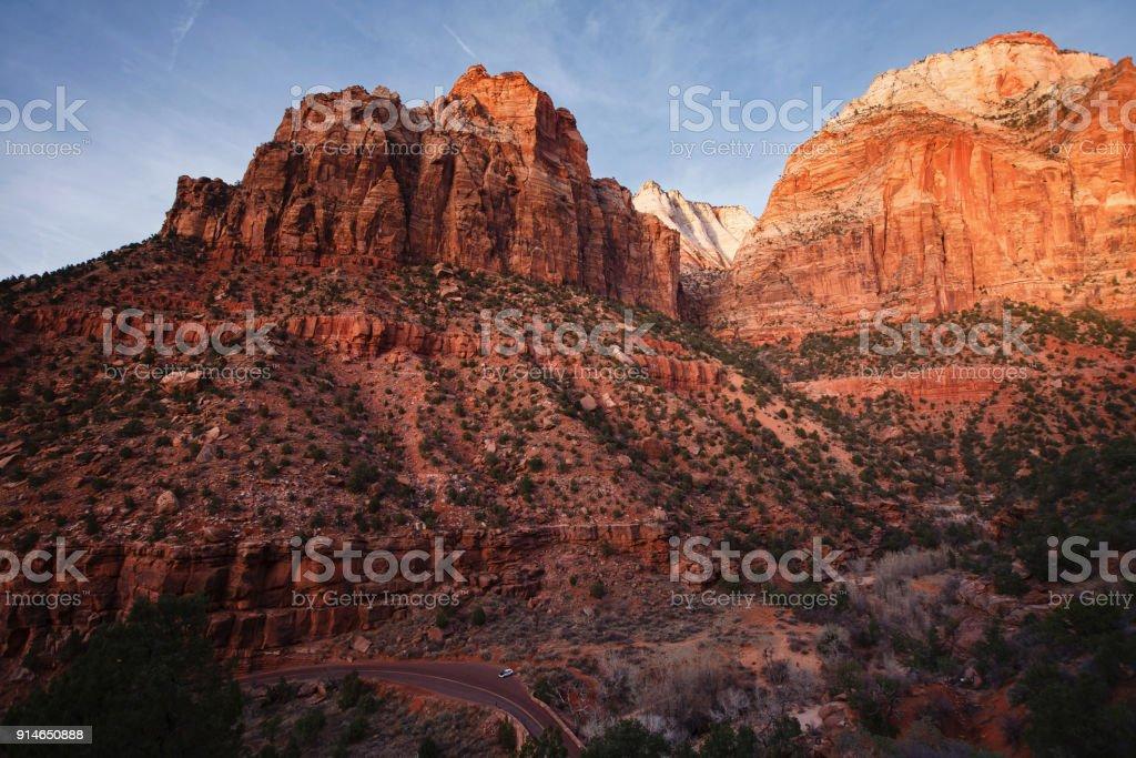 The scenic Zion Mount Carmel Highway in Southwestern Utah stock photo