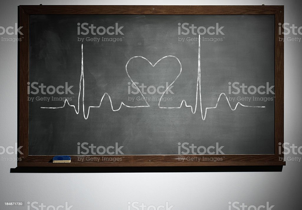 The school board and chalk-drawn diagram of heart stock photo