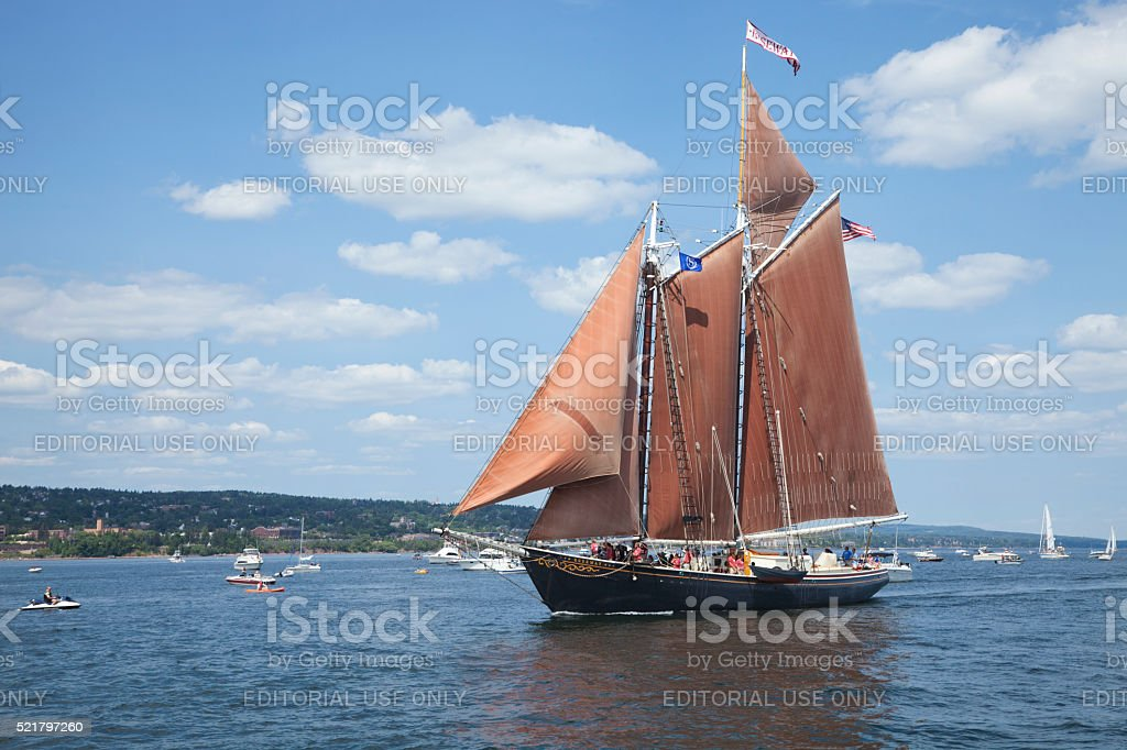 The schooner Roseway enters Duluth harbor during Tall Ships Festival stock photo