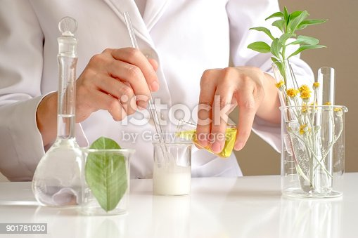 istock the scientist,dermatologist testing the organic natural product in the laboratory.research and development beauty skincare concept.blank package,bottle,container .cream,serum.hand 901781030