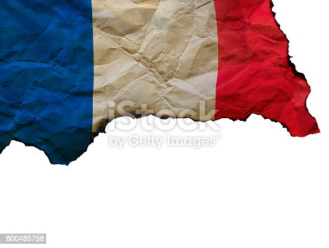 800485914istockphoto The Scorched French flag on white background, concept picture about terrorism in the world and in France 800485758