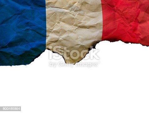 800485914istockphoto The Scorched French flag on white background, concept picture about terrorism in the world and in France 800485864