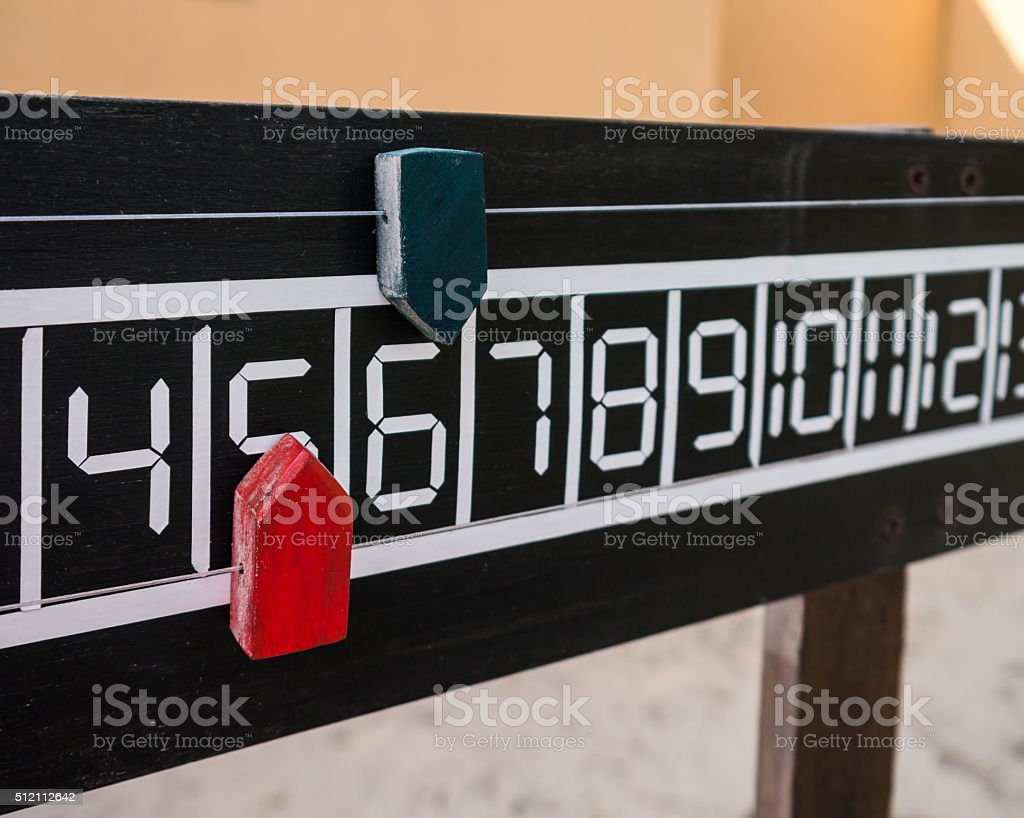 The score board of petanque stock photo