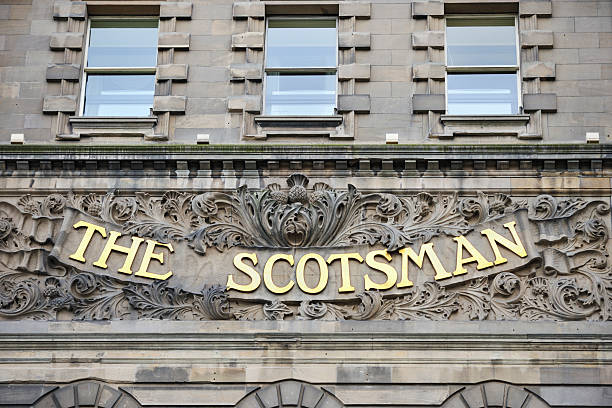 The Scotsman Hotel Edinburgh, Scotland - July 19, 2011: The sign on the Scotsman Hotel which sits on North Bridge Edinburgh. In 2001 The Scotsman Hotel transformed the former Scotsman Newspaper building which was built in 1905 into a luxury hotel. johnfscott stock pictures, royalty-free photos & images