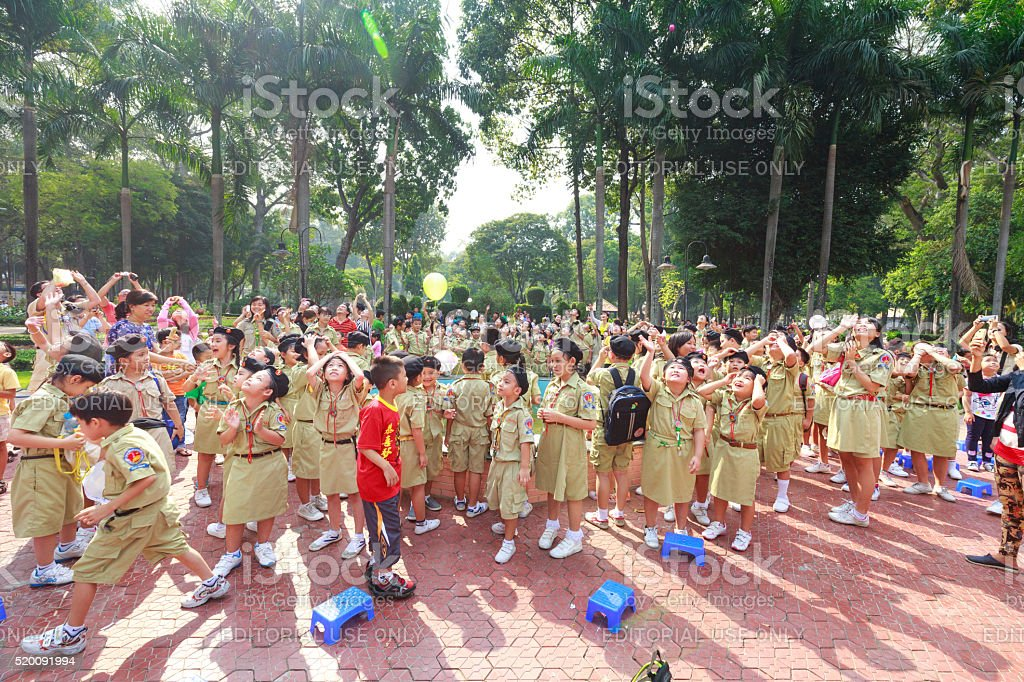 the scouts they released balloons carrying the dreams stock photo