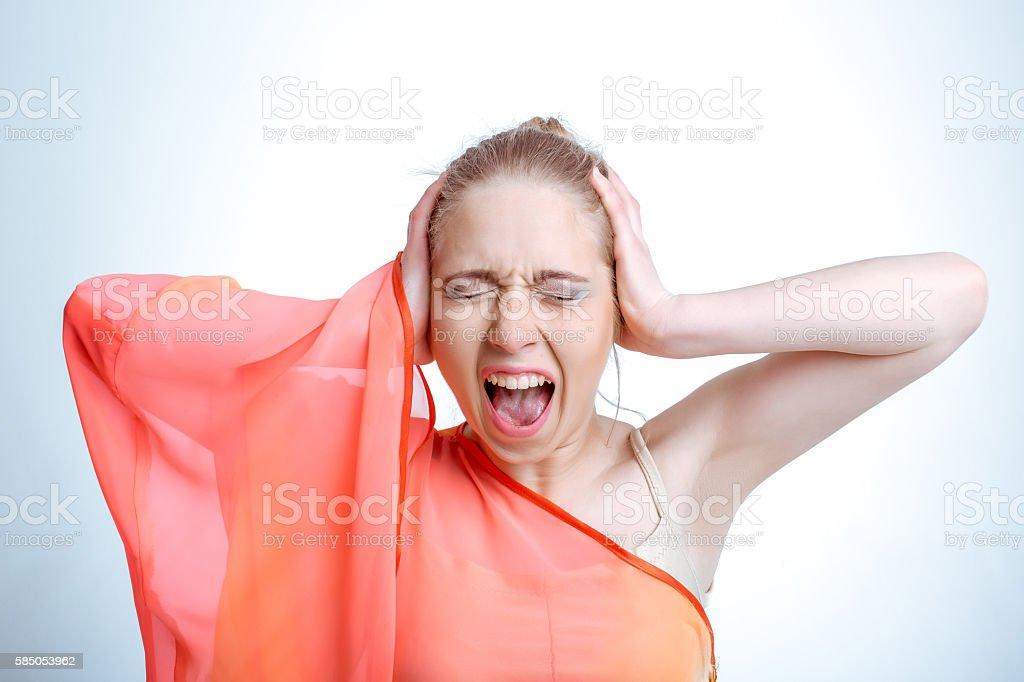 The screams of women. stock photo