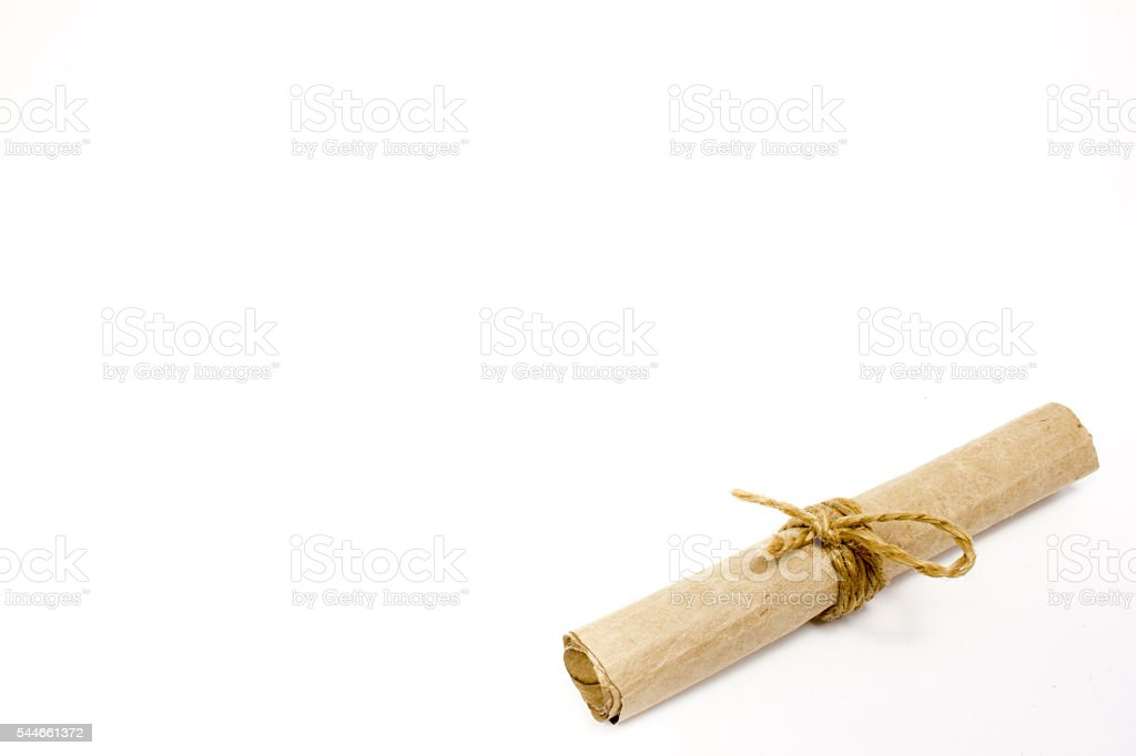 The scroll of parchment on white background stock photo