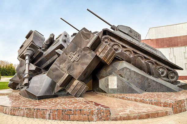 The sculptural composition Tank battle at Prokhorovka - Taran. Russia stock photo